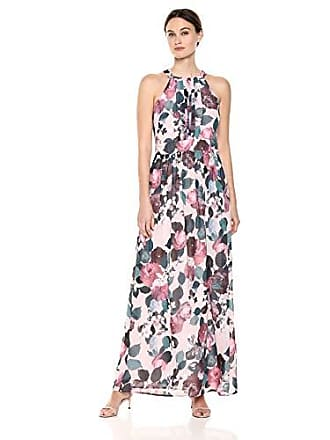 Nine West Womens Pleated Bodice Maxi Dress, Rosewater Multi, 12