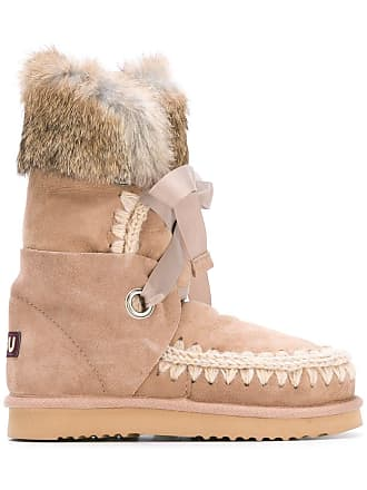 a739823a9f6 Mou Eskimo rabbit fur trim boots - Neutrals