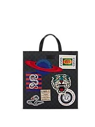 62848b020a75de Gucci Mens Appliquéd GG Supreme Canvas Shopper Tote Bag - Black