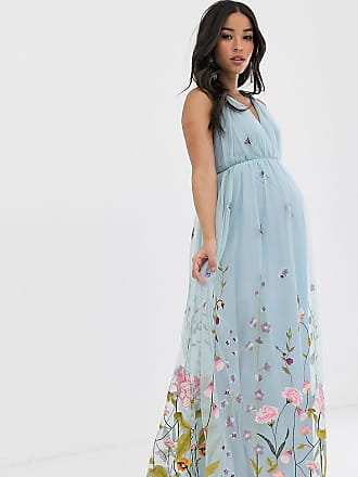 e22c9a951638 Asos Maternity ASOS DESIGN Maternity tulle maxi dress with delicate floral  embroidery and twist straps