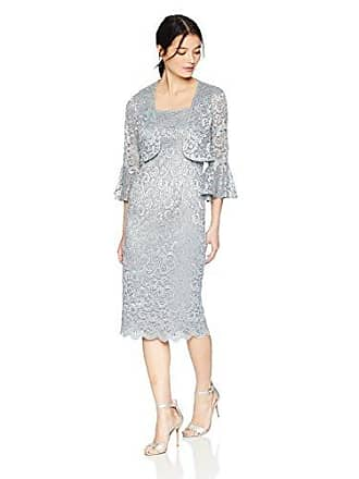 Alex Evenings Womens Short Shift Jacket Dress with Bell Sleeves (Petite and Regular), Silver, 18