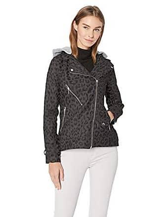 Yoki Womens Leopard Print Short Wool Jacket, Charcoal, Medium
