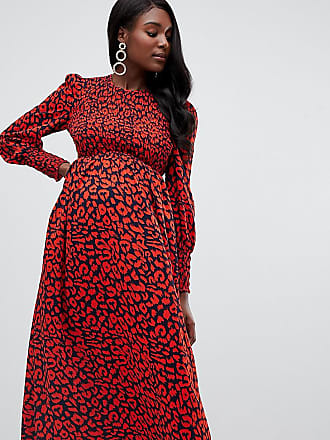d21d7cee070 Queen Bee long sleeve shirred bust midi dress in red leopard