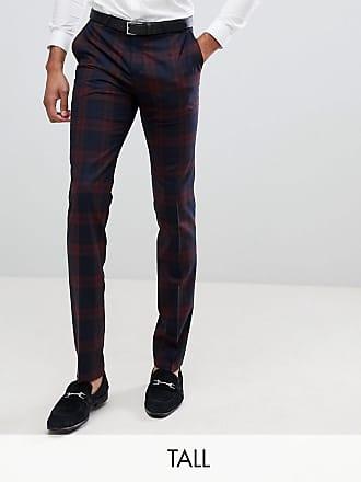 Twisted Tailor Pantaloni da abito super skinny bordeaux a quadri-Rosso