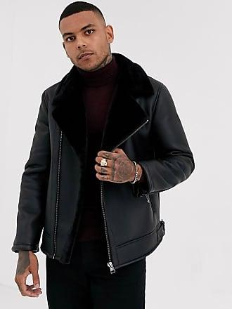 Topman shearling biker jacket in black