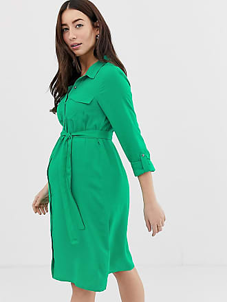Mama Licious Mamalicious maternity shirt dress with pocket detail - Green