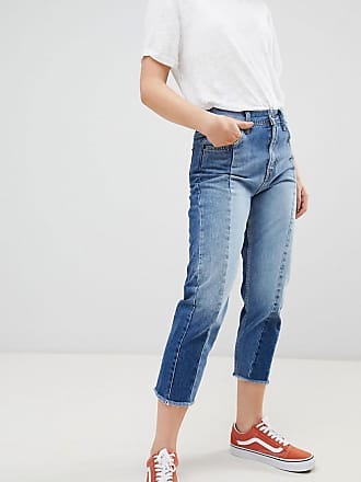 Pepe Jeans London Patchy Paneled Cropped Boyfriend Jeans - Blue