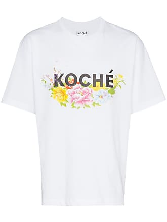 Koché Camiseta com logo e estampa de flor - Branco