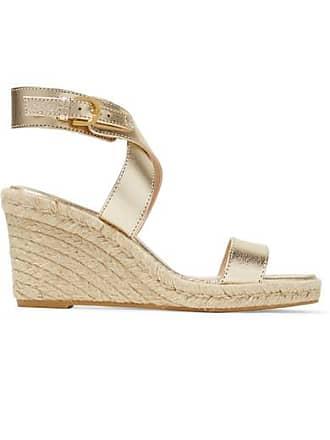 Stuart Weitzman Lexia Metallic Textured-leather Espadrille Wedge Sandals - Gold