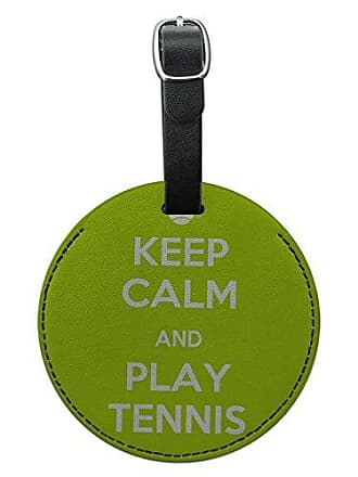 Graphics & More Graphics & More Keep Calm and Play Tennis Sports Round Leather Luggage Id Tag Suitcase Carry-on, Black