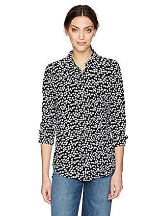 Equipment Womens Sandwashed Crepe De Chine Silk Essential Blouse, Turquoise/Black Bright White, Large