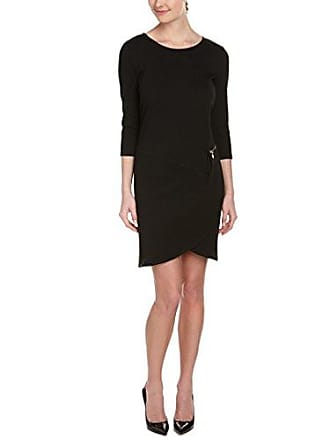 Joan Vass Womens Three Quarter Sleeve Scoop Neck Dress, Black, 1