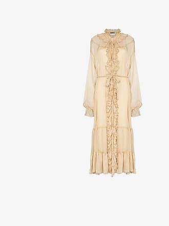 Rotate ruffle neck belted dress