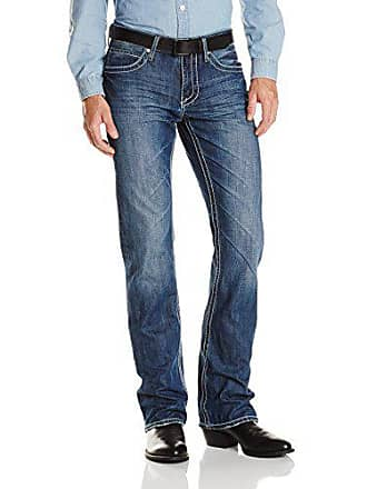 Stetson Mens Rocker Fit with Lower Rise and Slightly Fitted Thigh Jean,Medium Blue Stone Wash with Contrast W Back Pocket Embroidery, 30x38