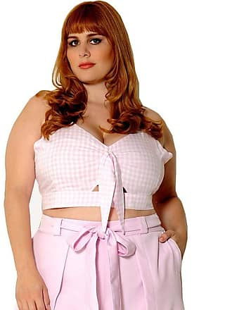 Vintage & Cats Cropped Plus Size Vichy Rosa