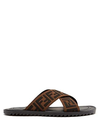 ba3ff7483ce6 Fendi Logo Embellished Rubber Slides - Mens - Brown