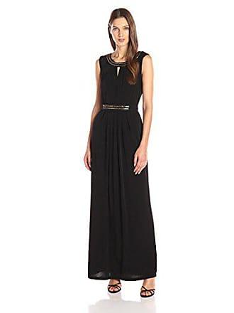 Ellen Tracy Womens Boatneck Long Dress with Metal Detail, Black, 8