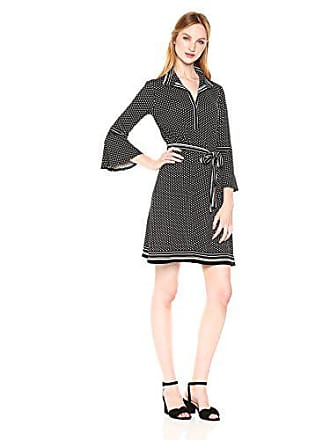 Max Studio Womens Collar 3/4 Length Dress with Bell Sleeve, Black/Ivory Square dot Allover Panel, Large