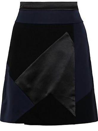 Victoria Beckham Victoria, Victoria Beckham Woman Patchwork Satin And Crepe Mini Skirt Black Size 12