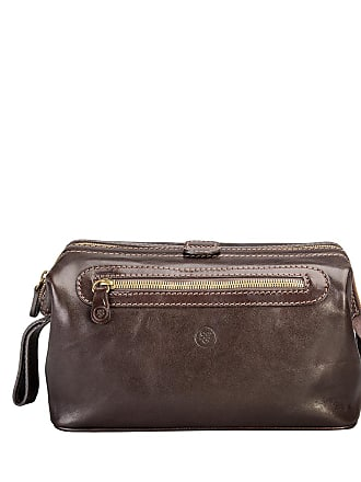 Maxwell Scott Maxwell Scott - Luxury Classic Brown Leather Travel Toiletry Bag For Men