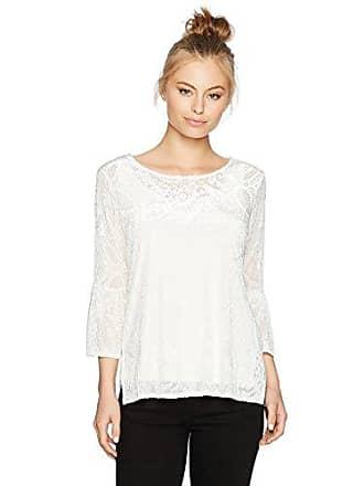 2a46f2775b8 Ruby Rd. Womens Petite Scoop-Neck Paisley Burnout Velvet Tunic, Winter  White,