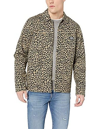 Obey Mens Hard Work Labor Jacket, Khaki Leopard, X-Large