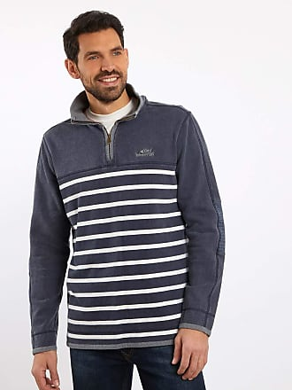 Weird Fish Pemberton 1/4 Zip Striped Pique Sweatshirt Navy Size M
