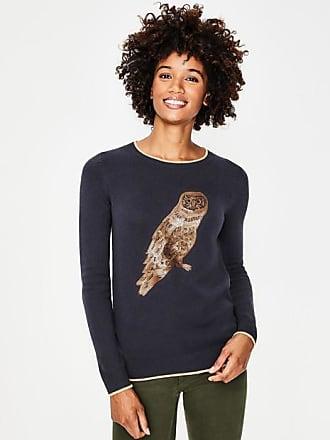 Boden Christmas Sweater Metallic Owl Women Boden