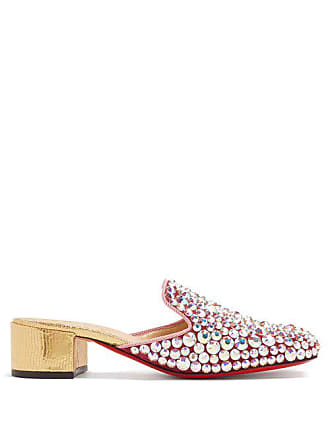 Christian Louboutin Eltonetta 35 Crystal Embellished Suede Mules - Womens - Pink Multi