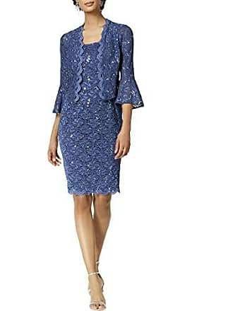 Alex Evenings Womens Short Shift Jacket Dress with Bell Sleeves (Petite and Regular), Wedgewood, 16