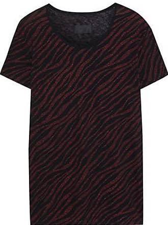 Rta Rta Woman Metallic Zebra-print Cotton And Cashmere-blend T-shirt Red Size XXS