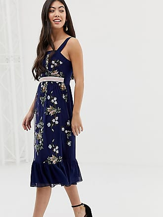 Little Mistress Petite embroidered square neck midi dress with fluted hem in navy multi - Multi