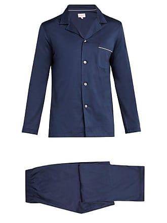 Derek Rose Bari Modern Fit Cotton Pyjama Set - Mens - Navy
