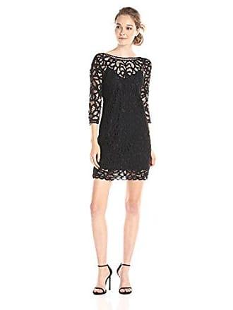BB Dakota Womens Leigh Soutache Long Sleeve Lace Dress, Black, Small