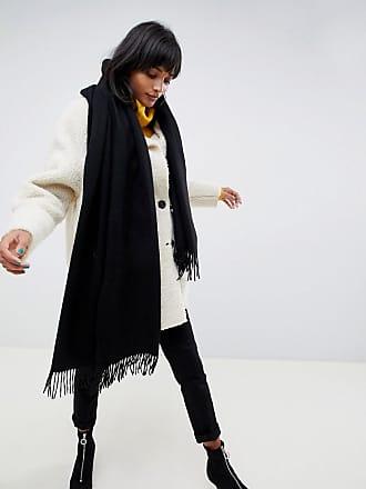 655affcf4e07 Asos ASOS DESIGN - Écharpe oversize en laine dagneau à franges - Noir