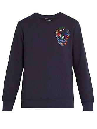 Alexander McQueen Alexander Mcqueen - Skull Embroidered Cotton Sweatshirt - Mens - Navy
