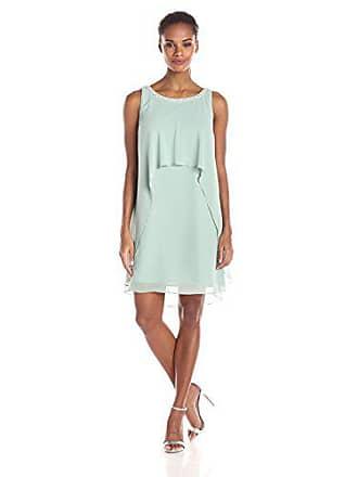 S.L. Fashions Womens Pearl Trimmed Keyhole Back Solid Chiffon Dress, Sage 14