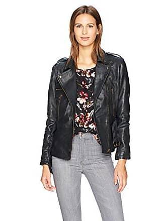 Nicole Miller Womens Sammi Lamb Leather Moto Jacket, Black, Petite