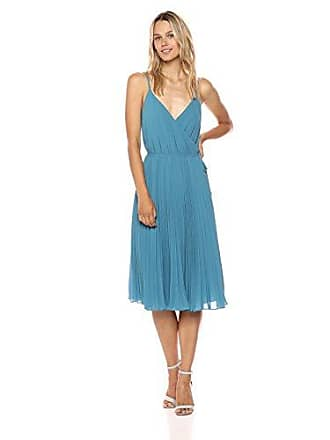 Ali & Jay Womens Wrap Top Pleated Fit & Flare Sleeveless Dress, Robins Egg Blue, M