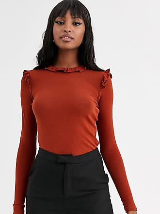 Y.A.S. Tall Arils frill long sleeve top-Orange