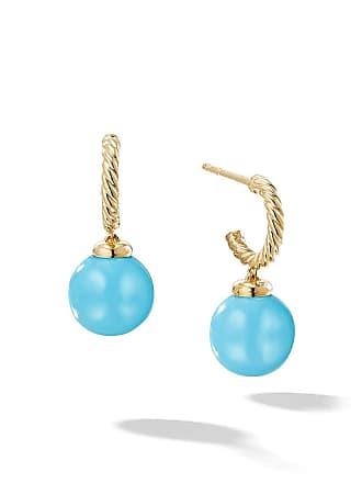 David Yurman 18kt yellow gold Solari turquoise drop hoop earrings - 88Btq