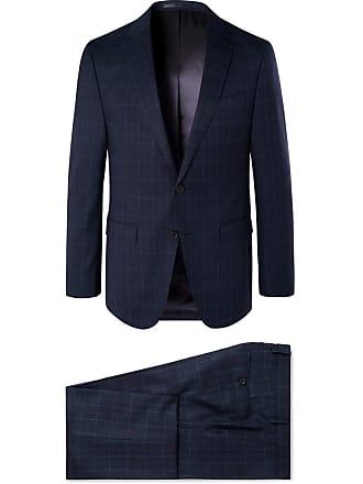 49b50e12 HUGO BOSS Navy Novan/ben Checked Super 130s Virgin Wool Suit - Navy