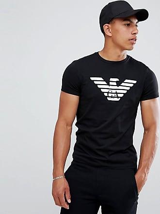 Emporio Armani T-shirt girocollo nera con grande logo ad aquila-Nero