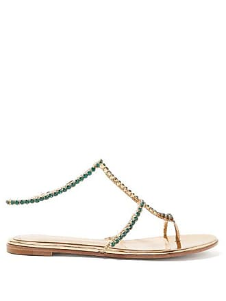 Gianvito Rossi Crystal Embellished Leather Sandals - Womens - Gold