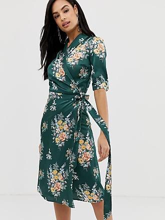 Liquorish floral midi wrap dress with ruffle detail - Multi