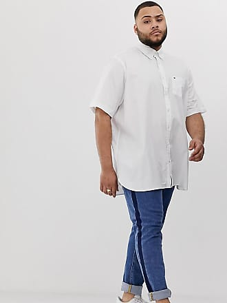 79ebc244 Tommy Hilfiger Big & Tall short sleeve button down poplin shirt flag logo  stretch in white
