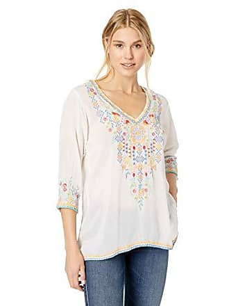 Johnny Was Womens V-Neck Blouse with Multicolor Embroidery, White, XL