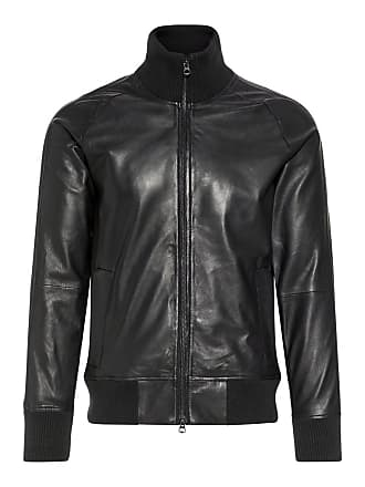 0e18607db7e J.Lindeberg Shaken Light Leather Track Jacket Man Svart
