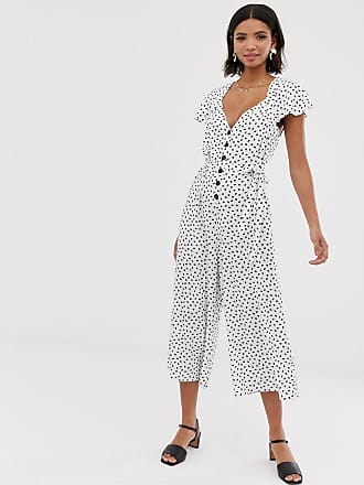 7534385846d4 Asos flutter sleeve spot print jumpsuit with button front