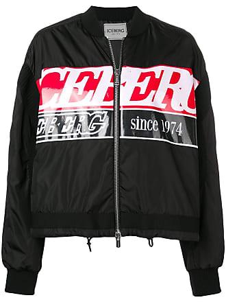 Iceberg boxy logo bomber jacket - Black